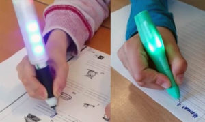 LED's Write Pen in action: the LEDs are activated when held correctly