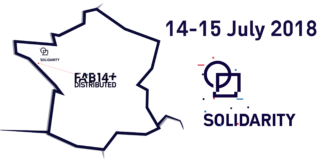 FAB14 + solidarity, 14-15 July 2018, showing a map of France and the location of Aurey in the north-west.