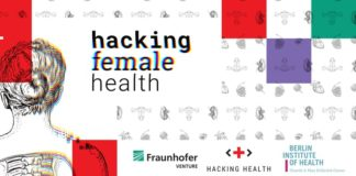Banner for the Hackathon, featuring Fraunhofer Venture, Hacking Health and Berlin Institute of Health as partners of the event