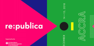 Banner re:publica Accra, 14-15 December 2018, supported by German Federal Ministry for Economic Cooperation and Development